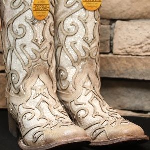 Corral Women's White Glitter Inlay & Crystal Boots